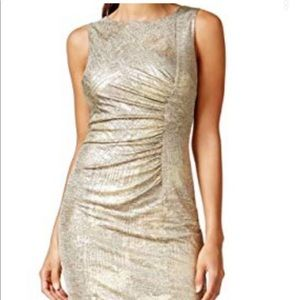 Calvin Klein metallic gold sheath dress